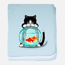 Tuxedo Cat with Fish baby blanket