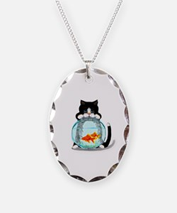 Tuxedo Cat with Fish Necklace