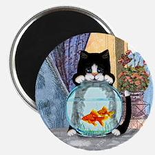Tuxedo Cat with Fish Magnet