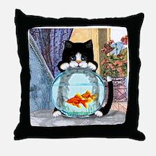 Tuxedo Cat with Fish Throw Pillow