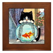 Tuxedo Cat with Fish Framed Tile
