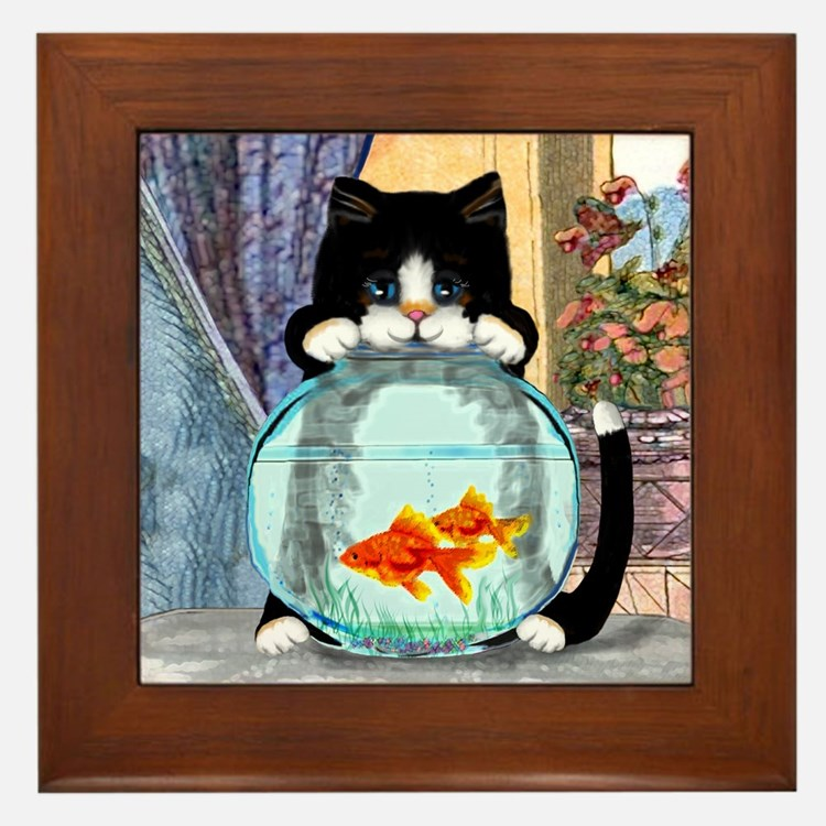 Tuxedo Cat with Fish Framed Tile