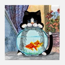 Tuxedo Cat with Fish Tile Coaster