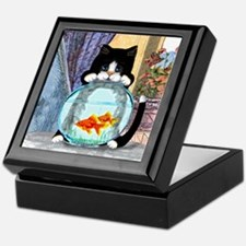 Tuxedo Cat with Fish Keepsake Box