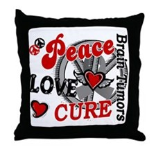 Peace Love Cure 2 Brain Tumor Shirts Gifts Throw P