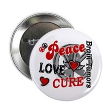 "Peace Love Cure 2 Brain Tumor Shirts Gifts 2.25"" B"