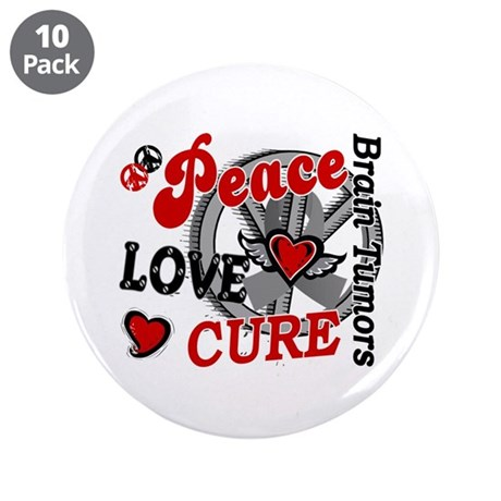"Peace Love Cure 2 Brain Tumor Shirts Gifts 3.5"" Bu"