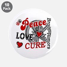"Peace Love Cure 2 Brain Tumor Shirts Gifts 3.5"" Bu"