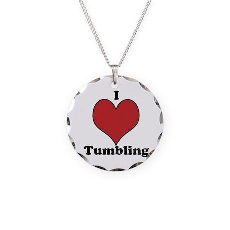 I Love Tumbling Necklace Circle Charm