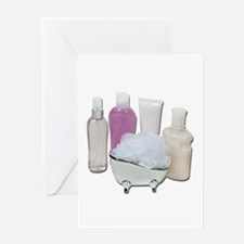 Lotion Cream Scrubber Tub Greeting Card