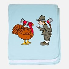 Turkey and Pilgrim with Hatch baby blanket