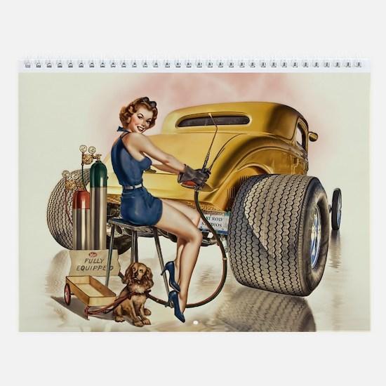 Retro Pinups Hot Rod Wall Calendar