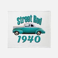 1940 Ford Hot Rod Jade Throw Blanket