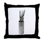 Paintbrushes Drying Intricate Throw Pillow