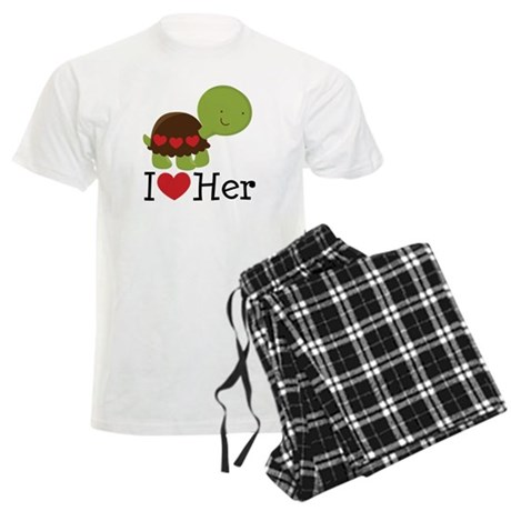 I Heart Her Turtle Love Men's Light Pajamas