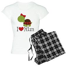 I Heart Him Couples Turtle Pajamas