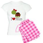 I Heart Him Couples Turtle Women's Light Pajamas