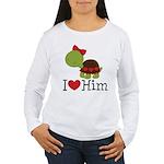 I Heart Him Couples Turtle Women's Long Sleeve T-S
