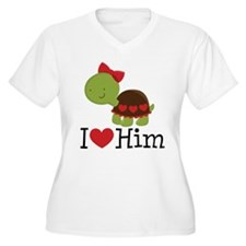 I Heart Him Couples Turtle T-Shirt