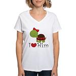 I Heart Him Couples Turtle Women's V-Neck T-Shirt