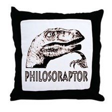Philosoraptor Labeled Throw Pillow