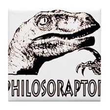 Philosoraptor Labeled Tile Coaster