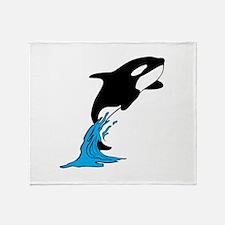 Killer Whale Jump Throw Blanket