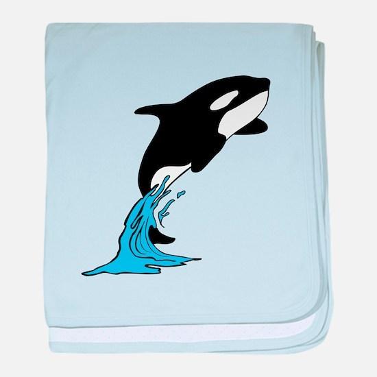 Killer Whale Jump baby blanket