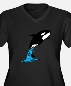 Killer Whale Jump Women's Plus Size V-Neck Dark T-