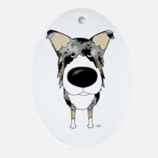 Blue Merle Collie Ornament (Oval)