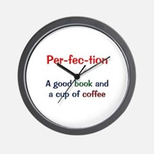 Perfection Book and Coffee Wall Clock