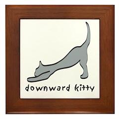 Downward Kitty Framed Tile