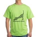 Downward Kitty Green T-Shirt