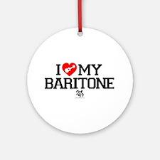 I Love My Baratone Ukulele Ornament (Round)