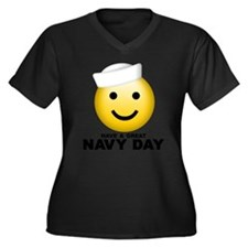Cool Military navy Women's Plus Size V-Neck Dark T-Shirt
