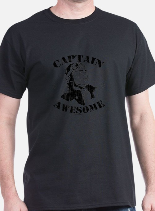 White -- Captain Awesome Pilot With Stars - T-Shir