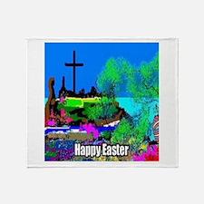 Easter Christians Cross Throw Blanket