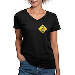 Blue Jay Crossing Sign Women's V-Neck Dark T-Shirt