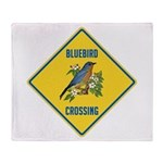 Blue Jay Crossing Sign Throw Blanket