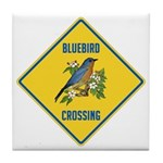 Blue Jay Crossing Sign Tile Coaster