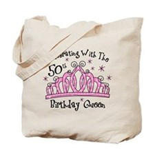 Tiara 50th Birthday Queen CW Tote Bag