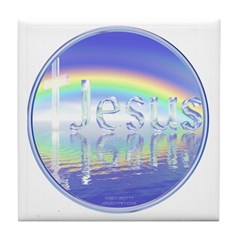 Rainbow Jesus Cross Tile Coaster