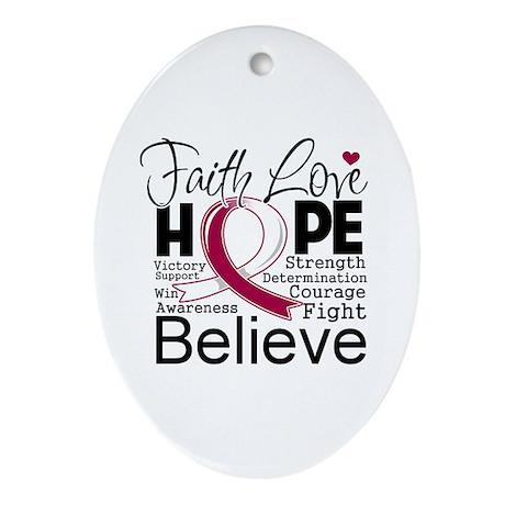 Faith Hope Head Neck Cancer Ornament (Oval)