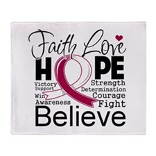 Faith Hope Head Neck Cancer Throw Blanket