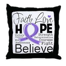 Faith Hope Hodgkins Disease Throw Pillow