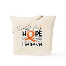 Faith Hope Kidney Cancer Tote Bag