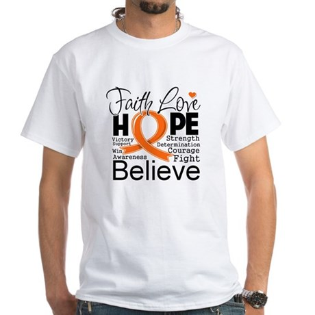 Faith Hope Kidney Cancer White T-Shirt
