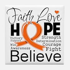 Faith Hope Kidney Cancer Tile Coaster