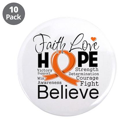 """Faith Hope Kidney Cancer 3.5"""" Button (10 pack)"""