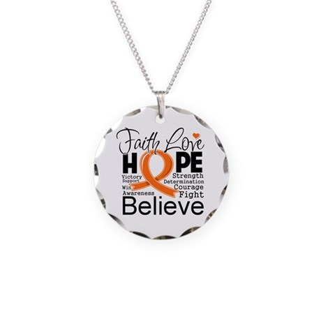Faith Hope Leukemia Necklace Circle Charm